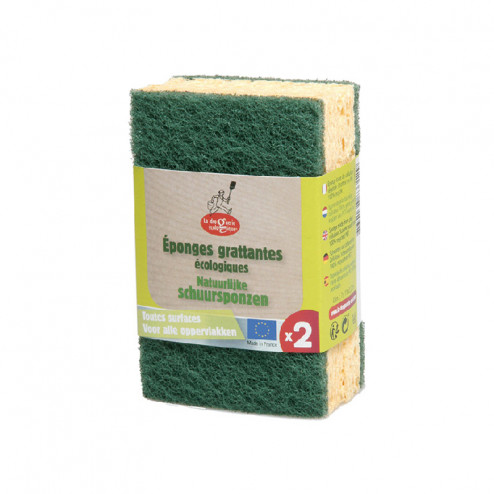 Eponges grattantes écologiques vertes - lot de 2 éponges