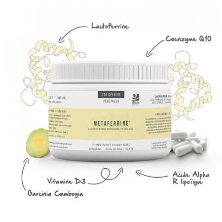 Lactoferrin, garcinia cambogia, coenzyme Q10 et vitamine D3