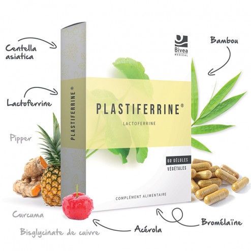 Composition du complément alimentaire Plastiferrine lactoferrine et centella asiatica
