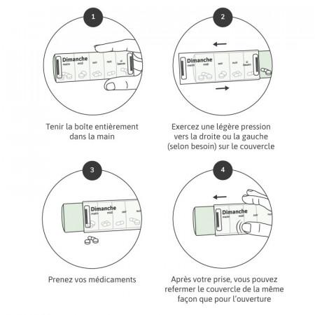 Utilisation du pilulier journalier bleu pastel anabox