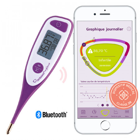 Thermomètre basal connecté mySense de cyclotest pour la symptothermie